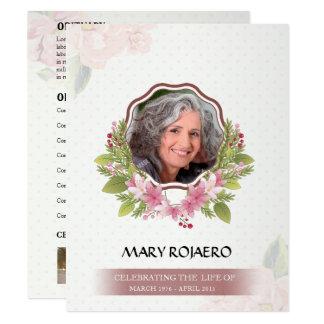 Memorial Order of Service Funeral Card 11 Cm X 14 Cm Invitation Card