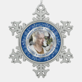 Memorial Photo Christmas Blue Silver Ornament