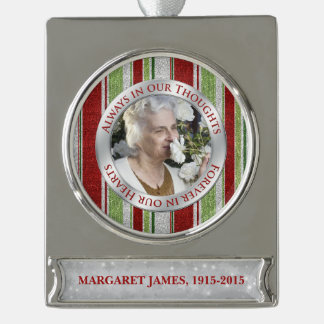 Memorial Photo Christmas Candy Cane Stripe Silver Plated Banner Ornament