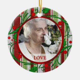 Memorial Photo Christmas Ornament - Holly Berries