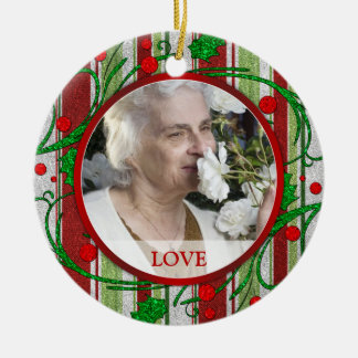 Memorial Photo Christmas Ornament - Holly Berries