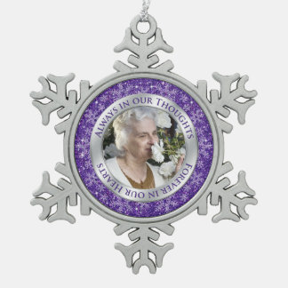 Memorial Photo Christmas Purple Silver Snowflake Pewter Christmas Ornament