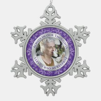 Memorial Photo Christmas Purple Silver Pewter Snowflake Decoration
