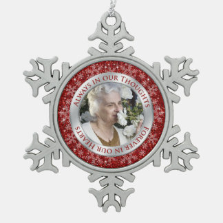 Memorial Photo Christmas Red Silver Pewter Snowflake Decoration