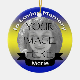 Memorial Photo Ornament Yellow & Blue