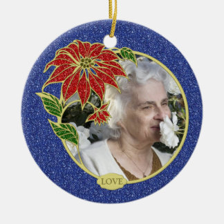 Memorial Photo Poinsettia Flower Christmas Double-Sided Ceramic Round Christmas Ornament