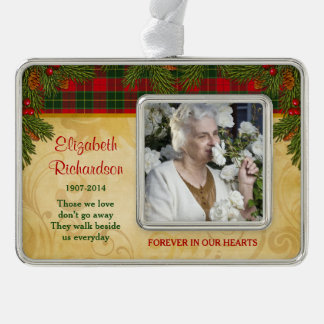 Memorial Photo Template Christmas Tartan Pine Silver Plated Framed Ornament