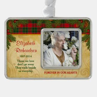 Memorial Photo Template Christmas Tartan Pine Silver Plated Framed Ornament