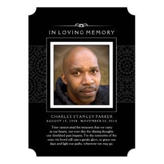 "Memorial Photo Thank You Card - Elegant Black 5"" X 7"" Invitation Card"