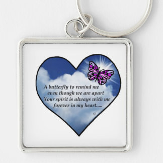 Memorial Poem Silver-Colored Square Key Ring