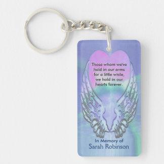 Memorial | Rainbow Heart Angel Wings Double-Sided Rectangular Acrylic Key Ring
