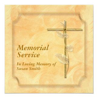 Memorial service announcement cross peach