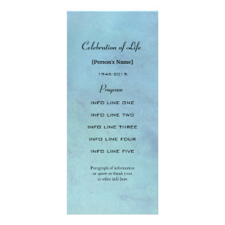 Memorial service blue watercolor program card