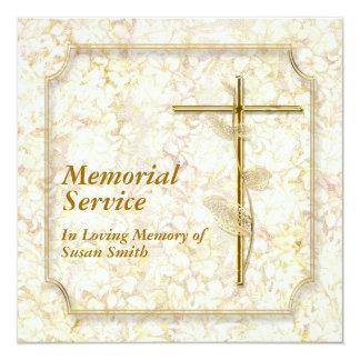 """Memorial service invitation announcement memory 5.25"""" square invitation card"""