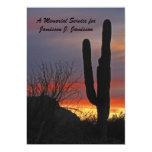 """Memorial Service Invitation, cactus at Sunset 5"""" X 7"""" Invitation Card"""