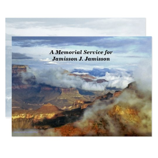 Memorial Service Invitation, Canyon Clouds Card