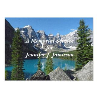 """Memorial Service Invitation Mountains Lake 5"""" X 7"""" Invitation Card"""