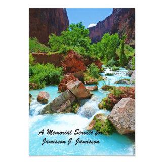 Memorial Service Invitation, Turquoise Stream