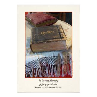 Memorial Service Invitation Vintage Bible