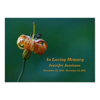 Memorial Service Invitation, Yellow Lily