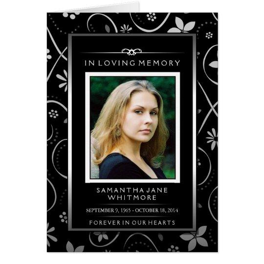 Memorial Service Invite - Black White Floral Card