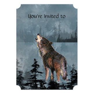 Memorial Service Invite Watercolor Howling Wolf