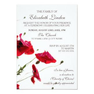 Memorial Service   Red Poppies 13 Cm X 18 Cm Invitation Card