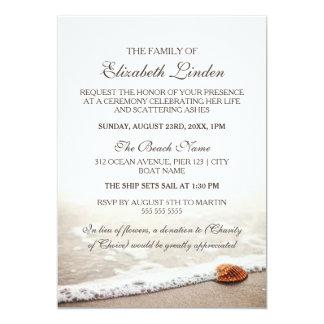 Memorial Service   Seashell on the Beach 13 Cm X 18 Cm Invitation Card