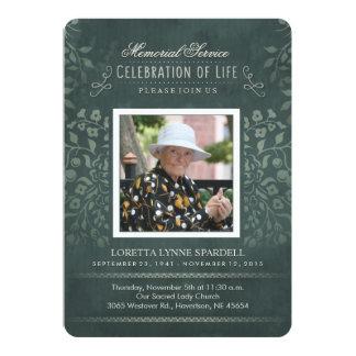 Memorial Service Teal Floral Photo Custom Invite