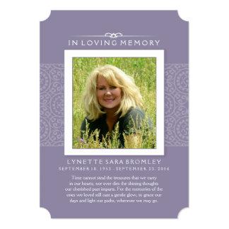 Memorial Thank You Lilac Purple Photo 13 Cm X 18 Cm Invitation Card