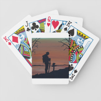 Memorial, Veternas Day, silhouette solider at grav Bicycle Playing Cards