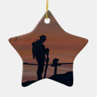 Memorial, Veternas Day, silhouette solider at grav Ceramic Ornament