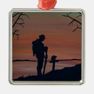 Memorial, Veternas Day, silhouette solider at grav Metal Ornament
