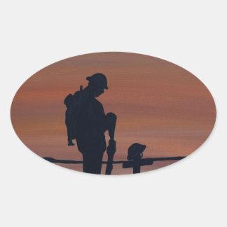 Memorial, Veternas Day, silhouette solider at grav Oval Sticker