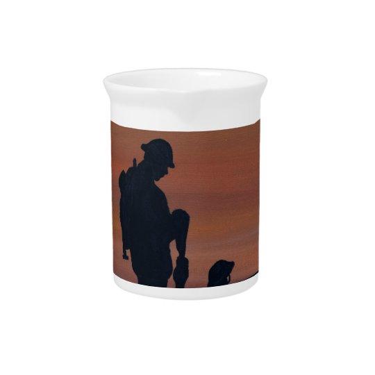 Memorial, Veternas Day, silhouette solider at grav Pitcher