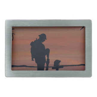 Memorial, Veternas Day, silhouette solider at grav Rectangular Belt Buckles
