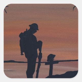Memorial, Veternas Day, silhouette solider at grav Square Sticker