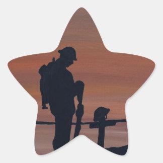 Memorial, Veternas Day, silhouette solider at grav Star Sticker