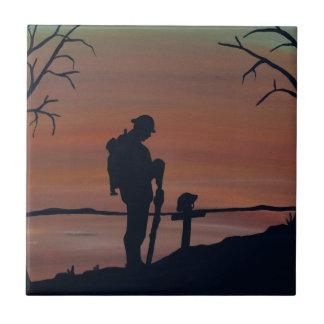 Memorial, Veternas Day, silhouette solider at grav Tile