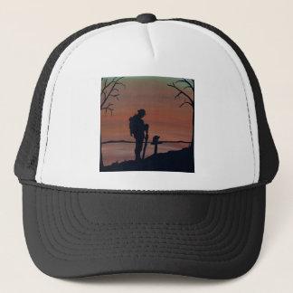 Memorial, Veternas Day, silhouette solider at grav Trucker Hat
