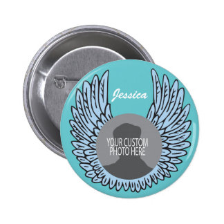 Memorial Wings Keepsake custom photo 6 Cm Round Badge