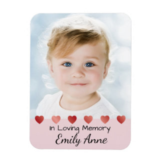 Memoriam Magnet for Little Girl with Hearts