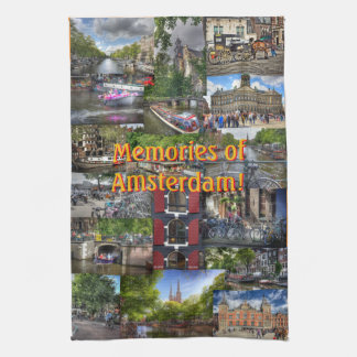 Memories of Amsterdam Photo Collage Tea Towel