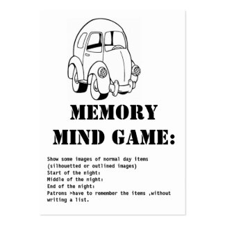 memory mind game-car pack of chubby business cards