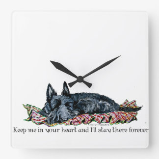 Memory of Scottish Terrier Square Wall Clock