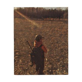 Memory photo effect of Daddy's Little Hunter Wood Wall Art