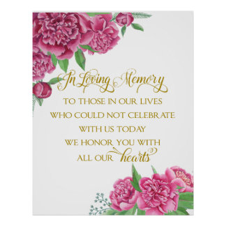 memory remembrance  floral wedding peony sign