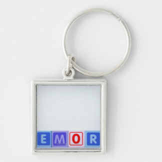 Memory. Silver-Colored Square Key Ring