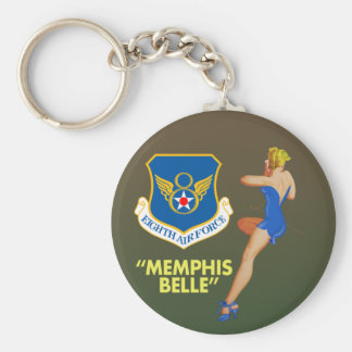 """Memphis Belle"""" 8th Air Force Basic Round Button Key Ring"""