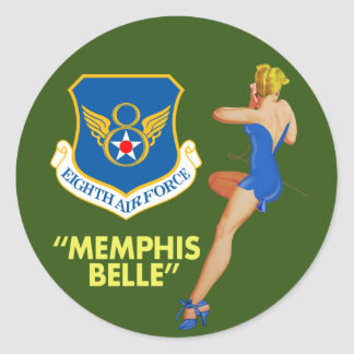 """Memphis Belle"" 8th Air Force Classic Round Sticker"